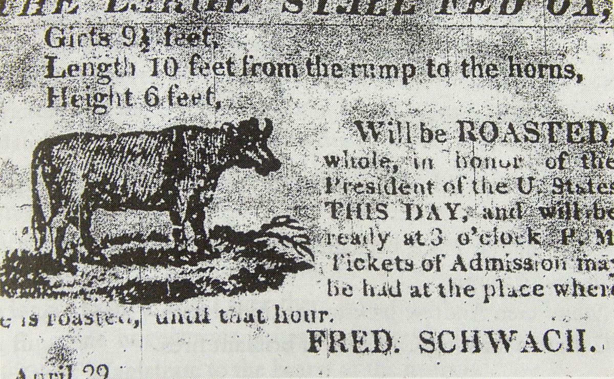 The city of Charleston celebrated James Monroe's visit by barbecuing an ox, as seen in this advertisement.