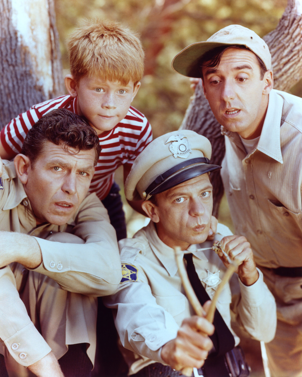 Andy Griffith: Andy Griffith as Sheriff Andy Taylor, Jim Nabors as Gomer Pyle, Ron Howard as Opie Taylor and Don Knotts as Deputy Barney Fife in The Andy Griffith Show, circa 1963. The series aired from 1960 to 1968. (Photo by Silver Screen Collection) (Photo: Getty Images)