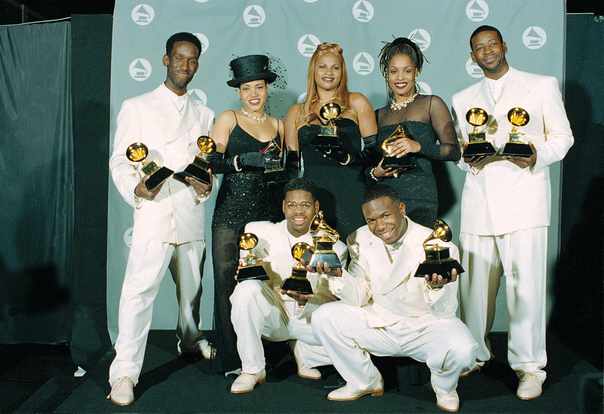 The women of Salt-N-Pepa pose with the group Boyz II Men with their Grammys at the 37th annual Grammy Awards in Los Angeles, Ca., Wednesday, March 1, 1995. Salt-N-Pepa won for rap duo or group performance, and Boys II Men won for best rhythm and blues album and for best duo or vocal performance.  The trio, from left, are, Cheryl James, Sandy Denton and Dede Roper.  The members of Boyz II Men, from left, are, Shawn Stockman, Nate Morris, Wanya Morris and Michael S. McCary.  (AP Photo/Mark J. Terrill)