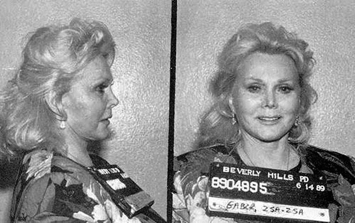 Celebrity Bookings: Actress Zsa Zsa Gabor landed in jail in Beverly Hills in June 1989 when she slapped a police officer who pulled her over and reportedly found an open liquor bottle in the car. Never afraid to be dramatic, Zsa Zsa later compared the experience to 'Nazi Germany.' (Photo: Getty Images)