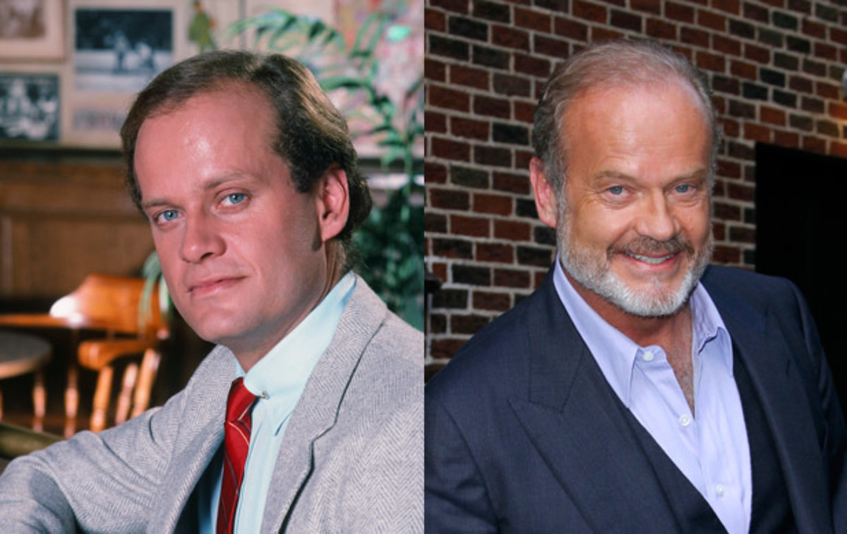 Where Are They Now: Cast of Cheers: Kelsey Grammer portrayed psychiatrist Dr. Frasier Crane on Cheers and its spin-off series Frasier. a role he played for 20 years. After Frasier, he continued acting, taking on his first dramatic role playing a Chicago mayor in The Boss. He also became a television producer while his rocky personal life, including a messy divorce from Camille Grammer in 2011, often  landed him in the tabloids. (Left) Photo by NBC/NBCU Photo Bank via Getty Images. (Right) Photo by Donna Ward/Getty Images.
