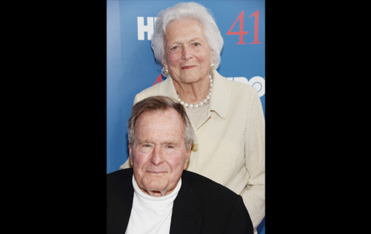 George H.W. Bush: President George H.W. Bush and First Lady Barbara Bush appear for the screening of the HBO documentary that outlines the president's captivating and eventful life, entitled 41 on June 12, 2012, in Kennebunkport, Maine.  (Photo by  Michael Loccisano/Getty Images for HBO)