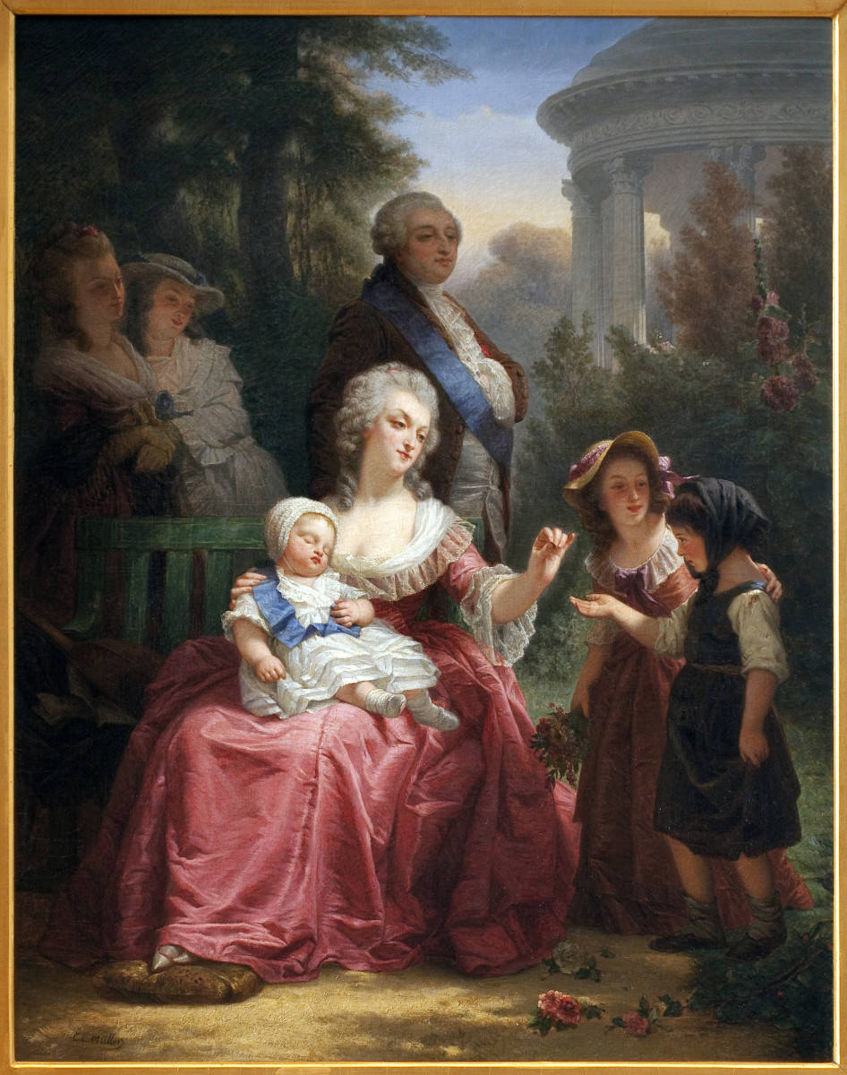 Marie Antoinette and Louis XVI with their newborn child Marie-Therese Charlotte