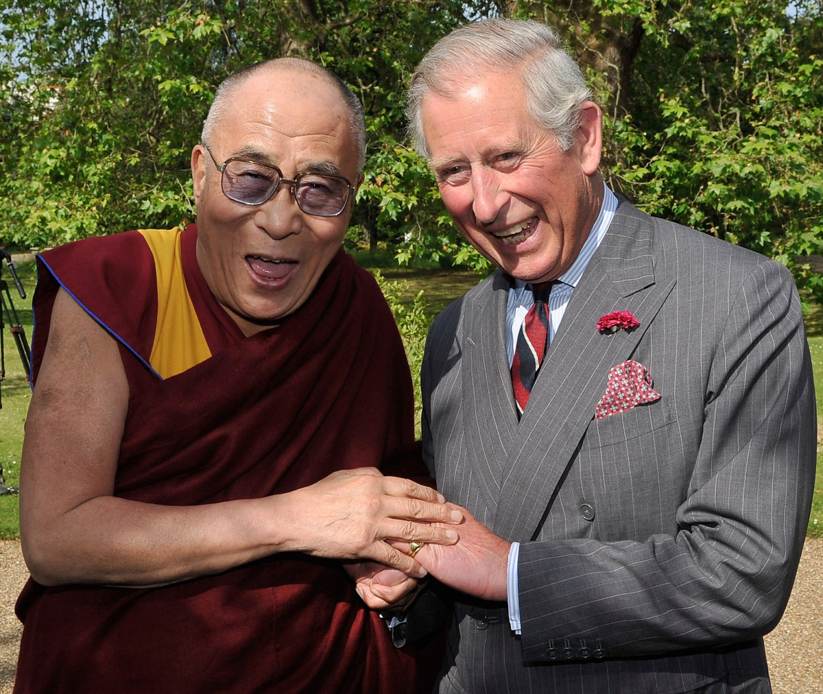 Prince Charles, Prince of Wales receives the Dalai Lama at Clarence House in London, England on June 20, 2012, during the Dalai Lama's recent tour of the United Kingdom. (Photo by Gareth Cattermole - WPA Pool/Getty Images)