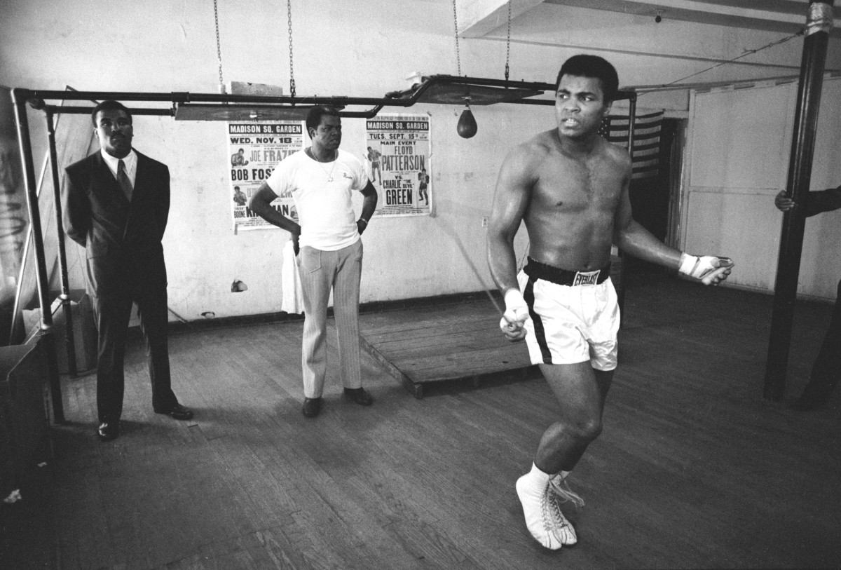 Muhammad Ali: Not long after his defeat at the hands of Joe Frazier, Muhammad Ali continues to train for upcoming matches at Chris Dundee's 5th Street gym in Miami Beach, Florida, in March, 1971. (Photo by Chris  Smith/Hulton Archive/Getty Images)