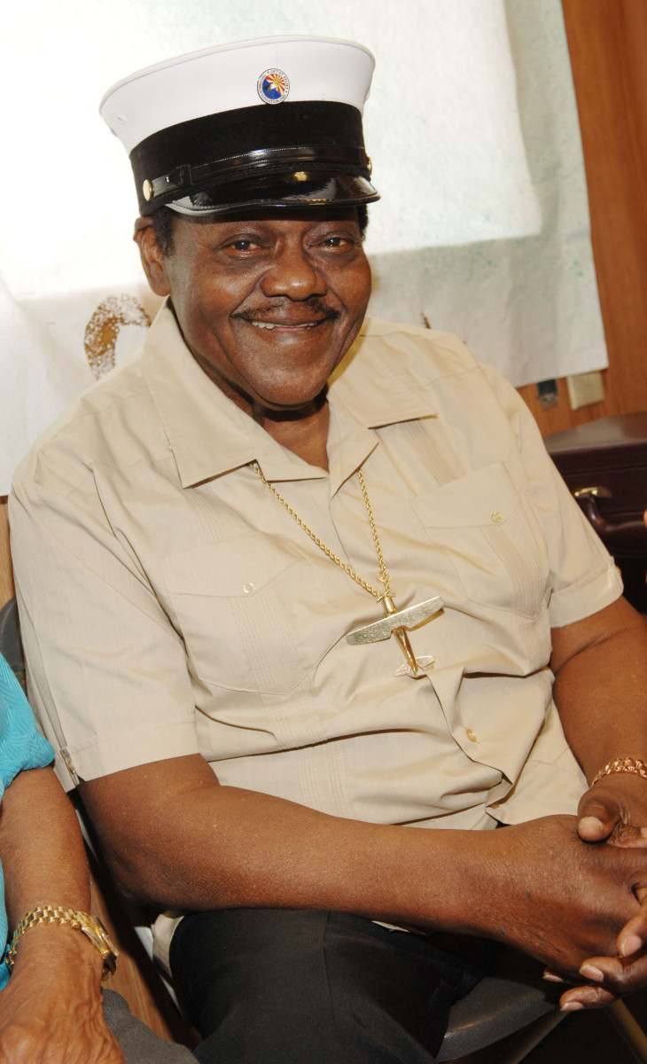 Fats Domino at 37th Annual New Orleans Jazz & Heritage Festival in 2006. (Photo by Rick Diamond/WireImage)