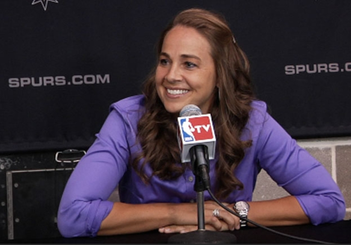 Becky Hammon at a press conference after the Spurs hired her as assistant coach.