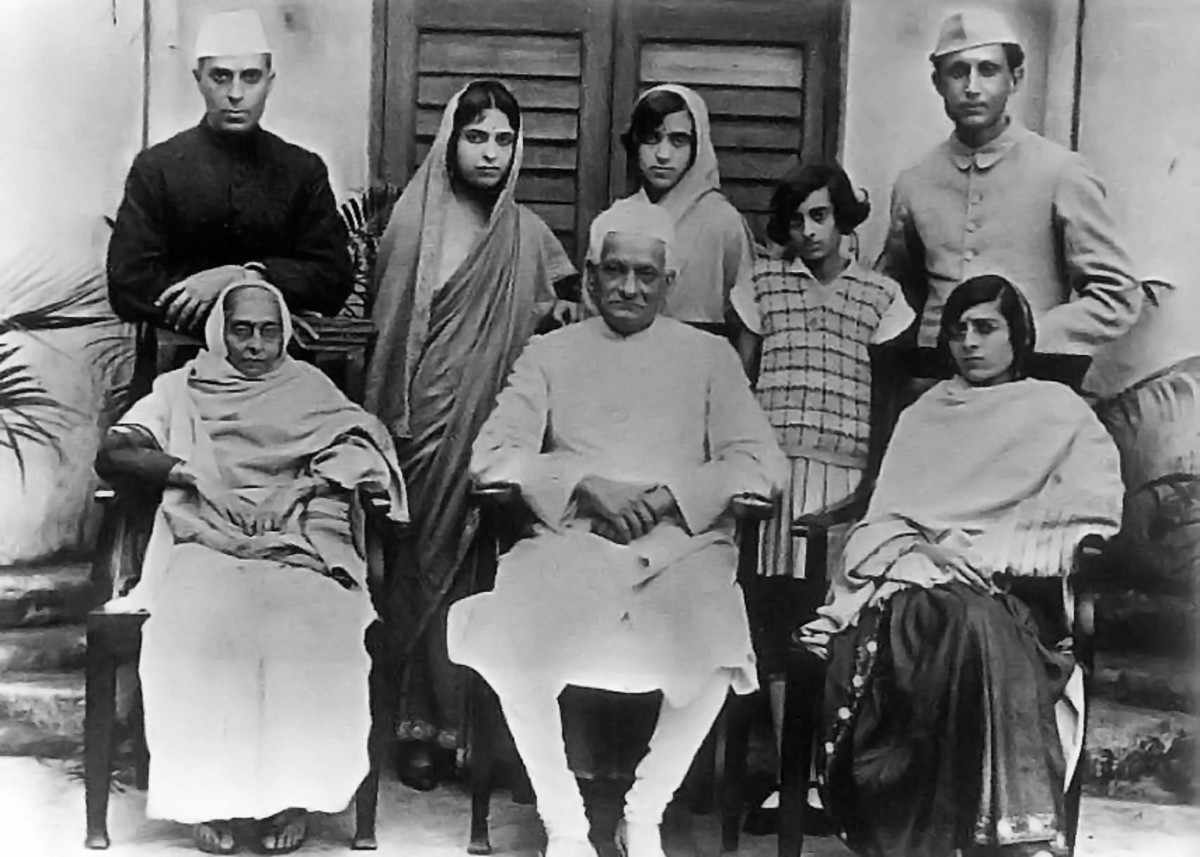 Nehru Family circa 1927 via Wikimedia Commons