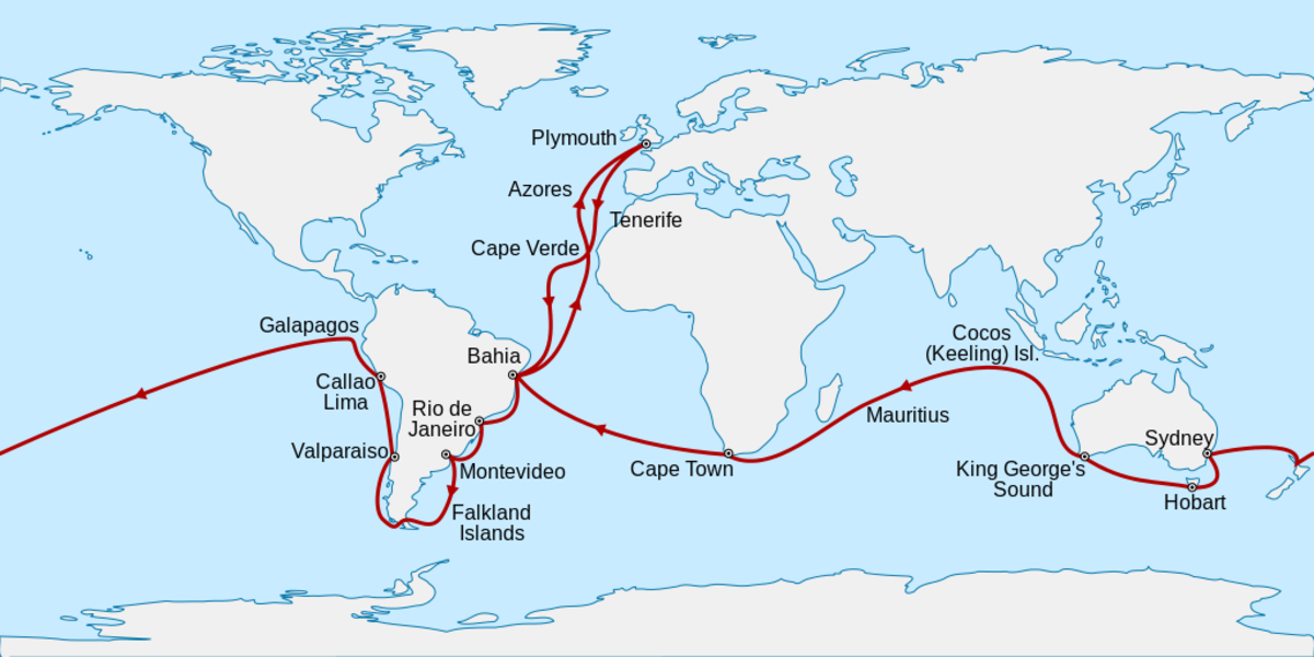 Charles Darwin Voyage Map Photo