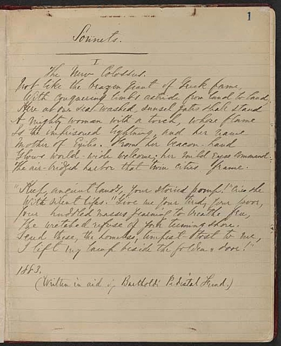 "Emma Lazarus ""The New Colossus"" poem transcript - LOC"
