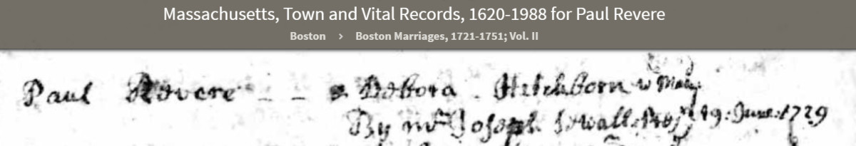 Paul Revere Deborah Hitchbourne Marriage Photo Courtesy Ancestry
