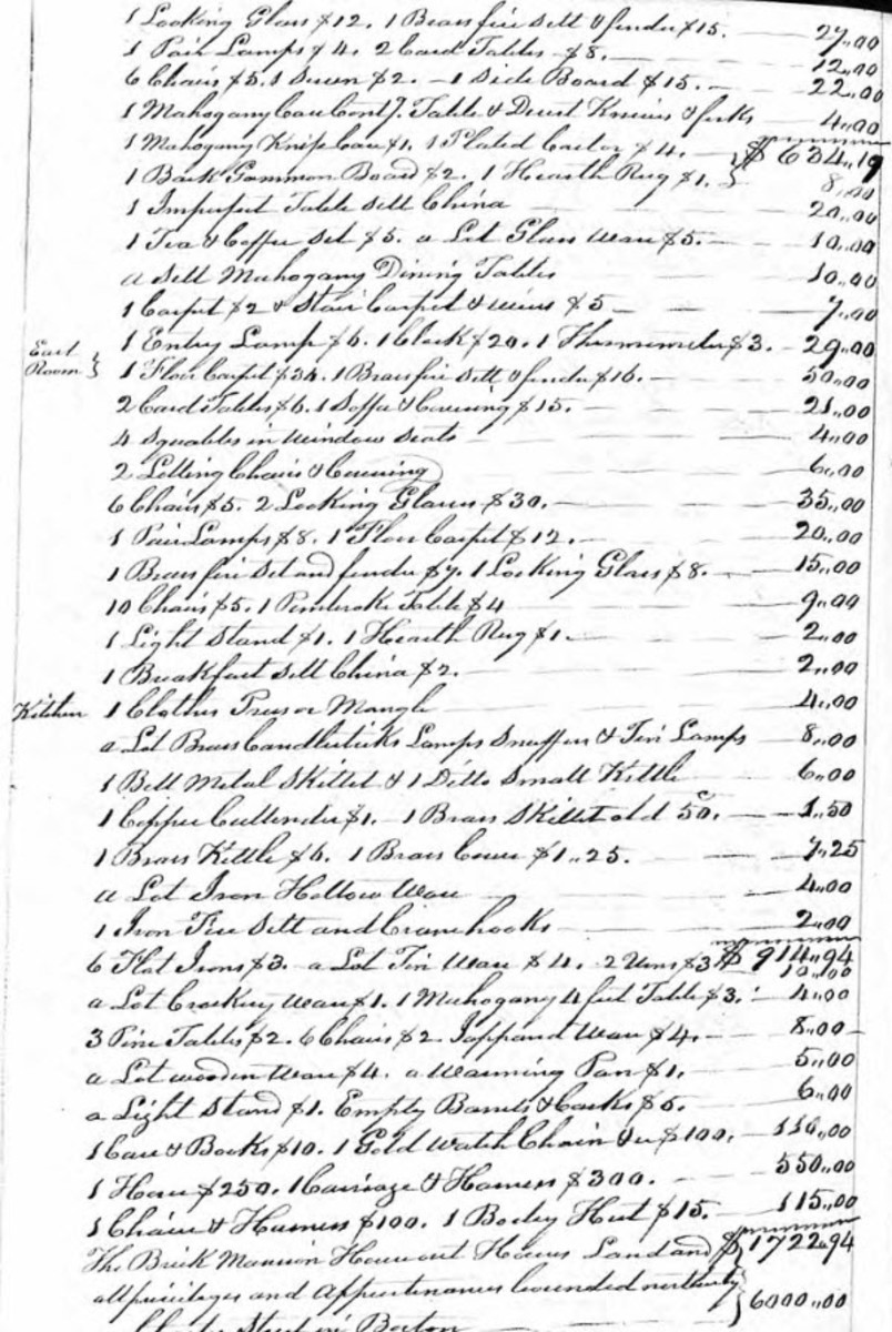 Paul Revere Will Inventory Courtesy Ancestry