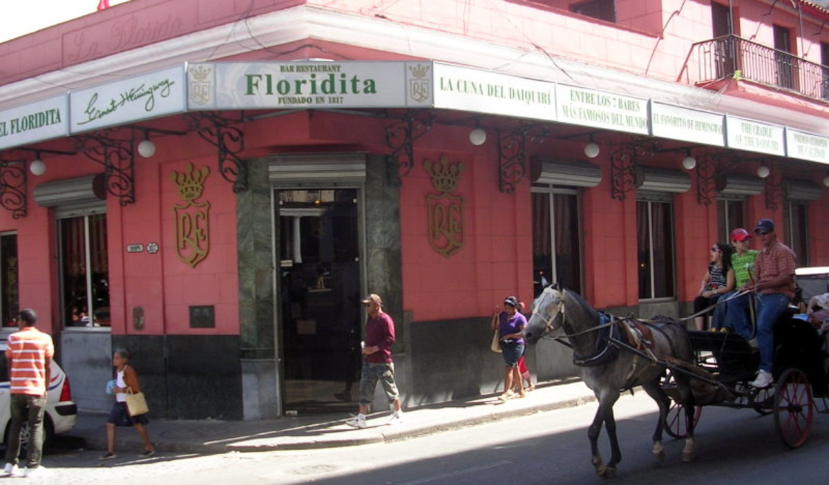 Floridita in Havana Photo By Hmaglione10 (Own work) [GFDL (http://www.gnu.org/copyleft/fdl.html) or CC BY-SA 4.0-3.0-2.5-2.0-1.0 (http://creativecommons.org/licenses/by-sa/4.0-3.0-2.5-2.0-1.0)], via Wikimedia Commons