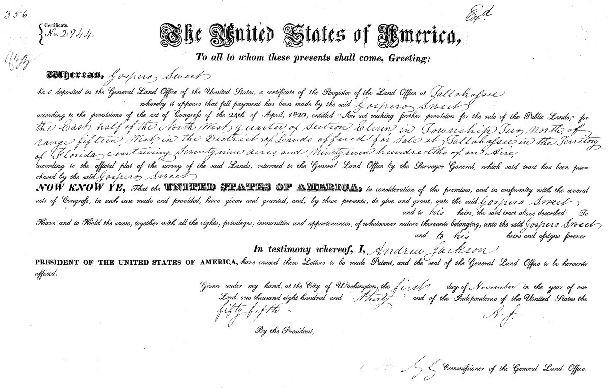 Original land patent of Gospero Sweet in Gadsden County, Florida (Courtesy of BLM GLO)