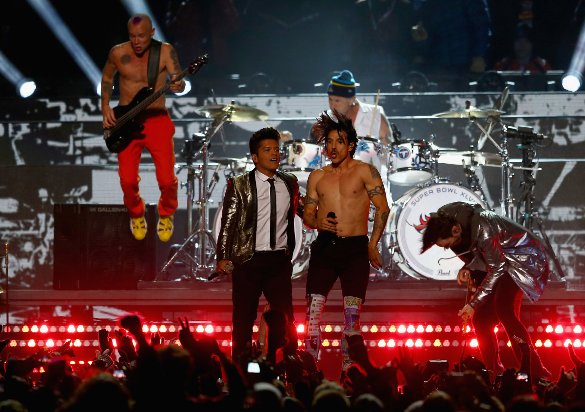 Bruno Mars Red Hot Chili Peppers Super Bowl 2014 Photo