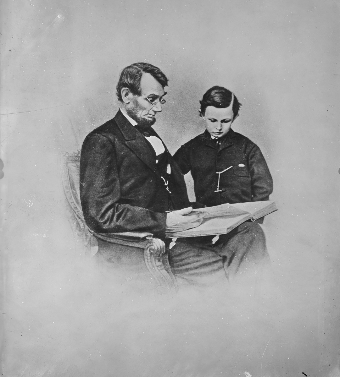 President Abraham Lincoln and Tad Lincoln, circa 1860-65.