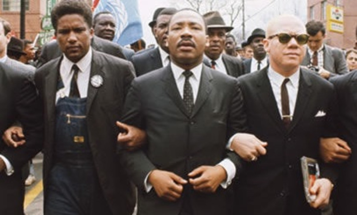Martin Luther King Jr. during the 1965 march from Selma to Montgomery, Alabama, in support of African-Americans' voting rights.