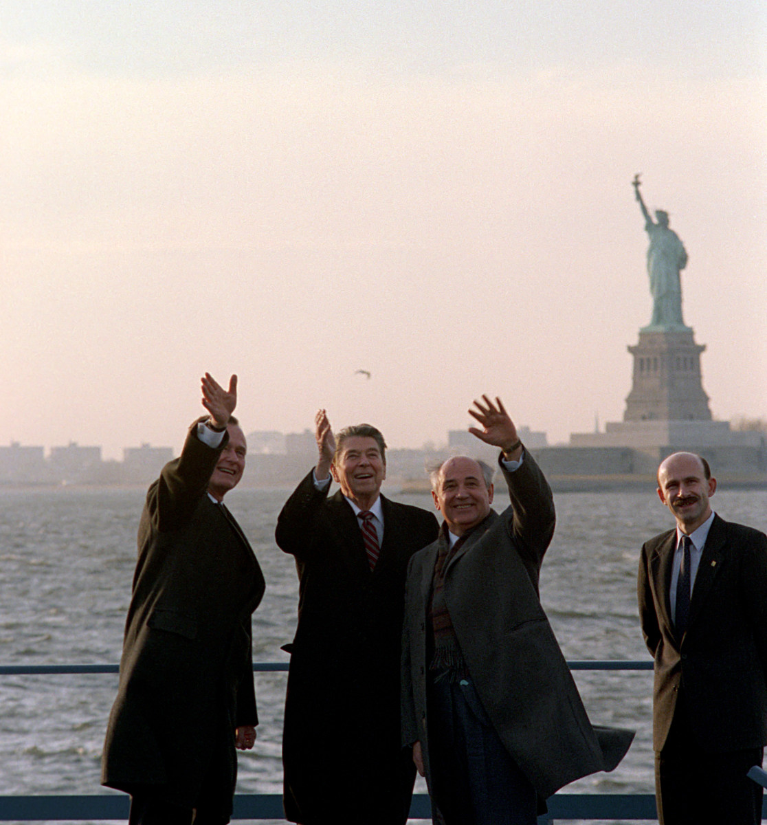 George Bush, Ronald Reagan and Mikhail Gorbachev