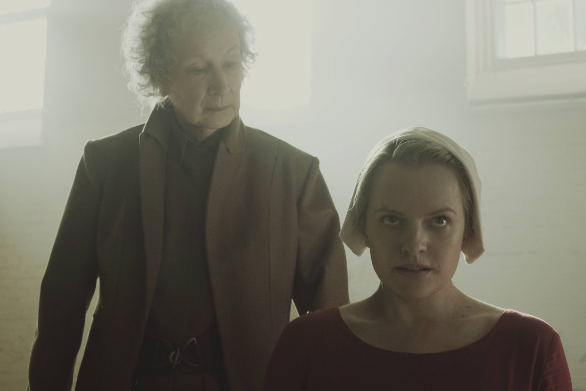 Margaret Atwood and Elisabeth Moss in A Handmaid's Tale