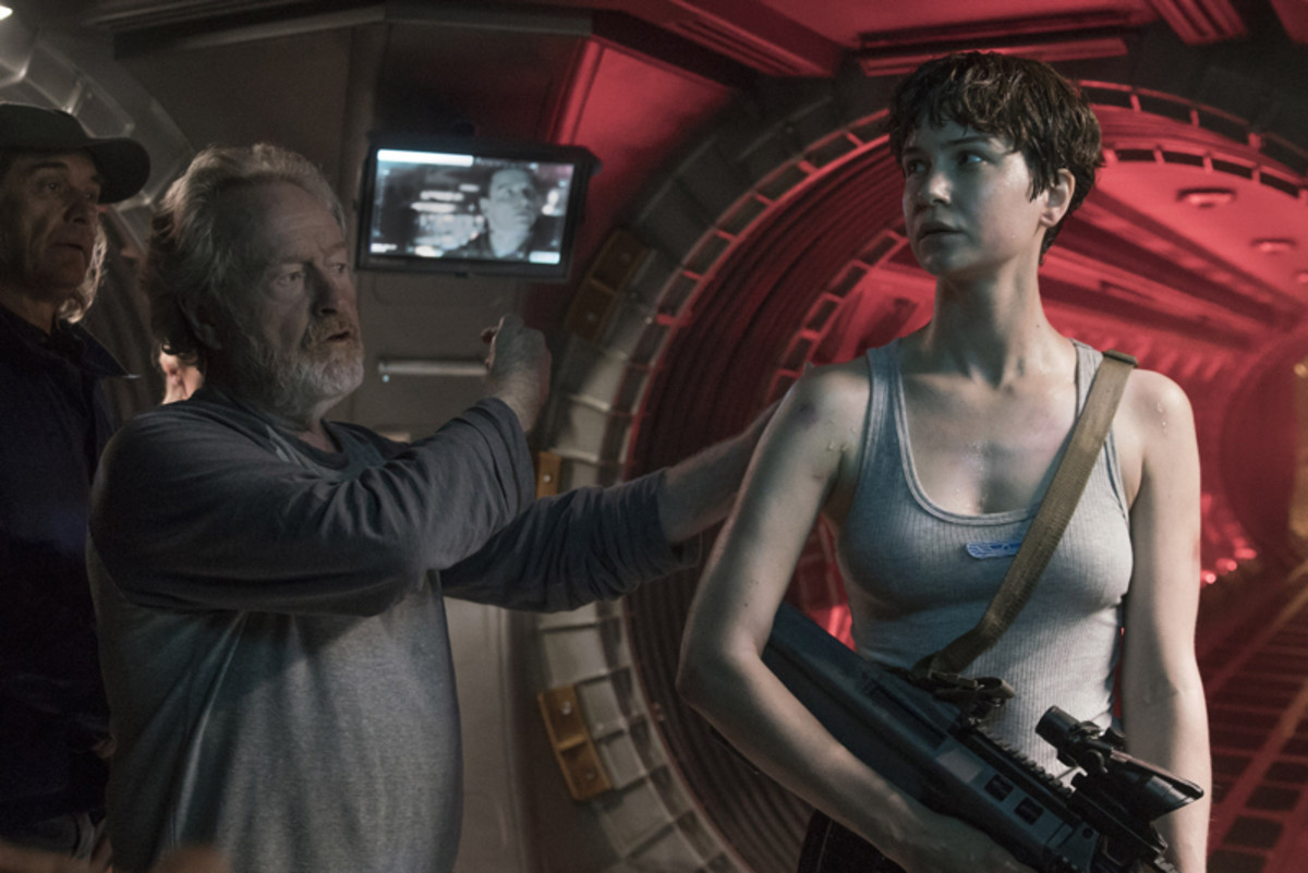 Ridley Scott and Katherine Waterston
