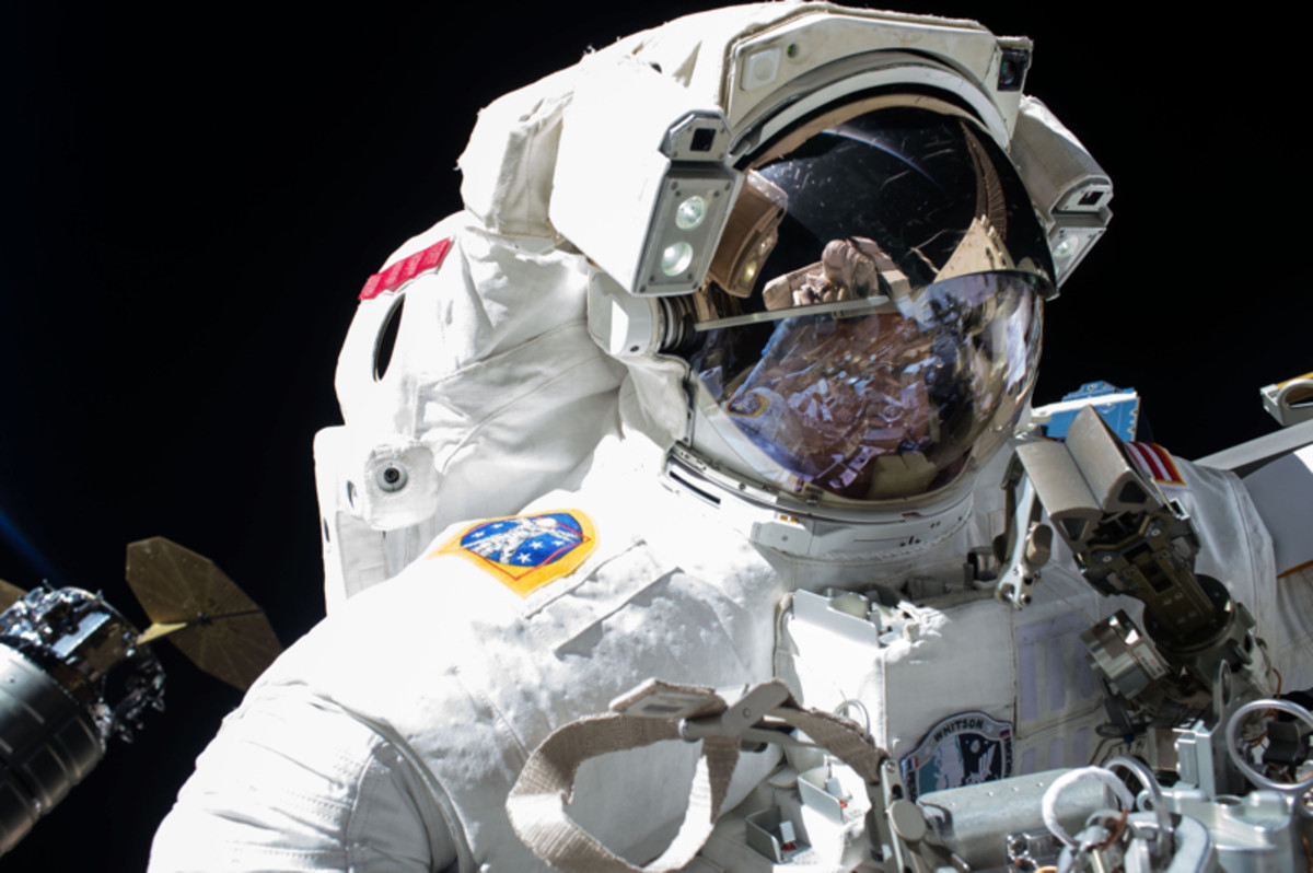 Peggy Whitson on a spacewalk in 2017