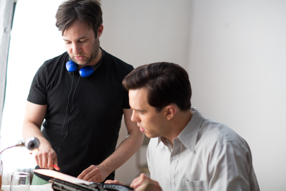 Director Danny Strong and Nicholas Hoult in Rebel in the Rye