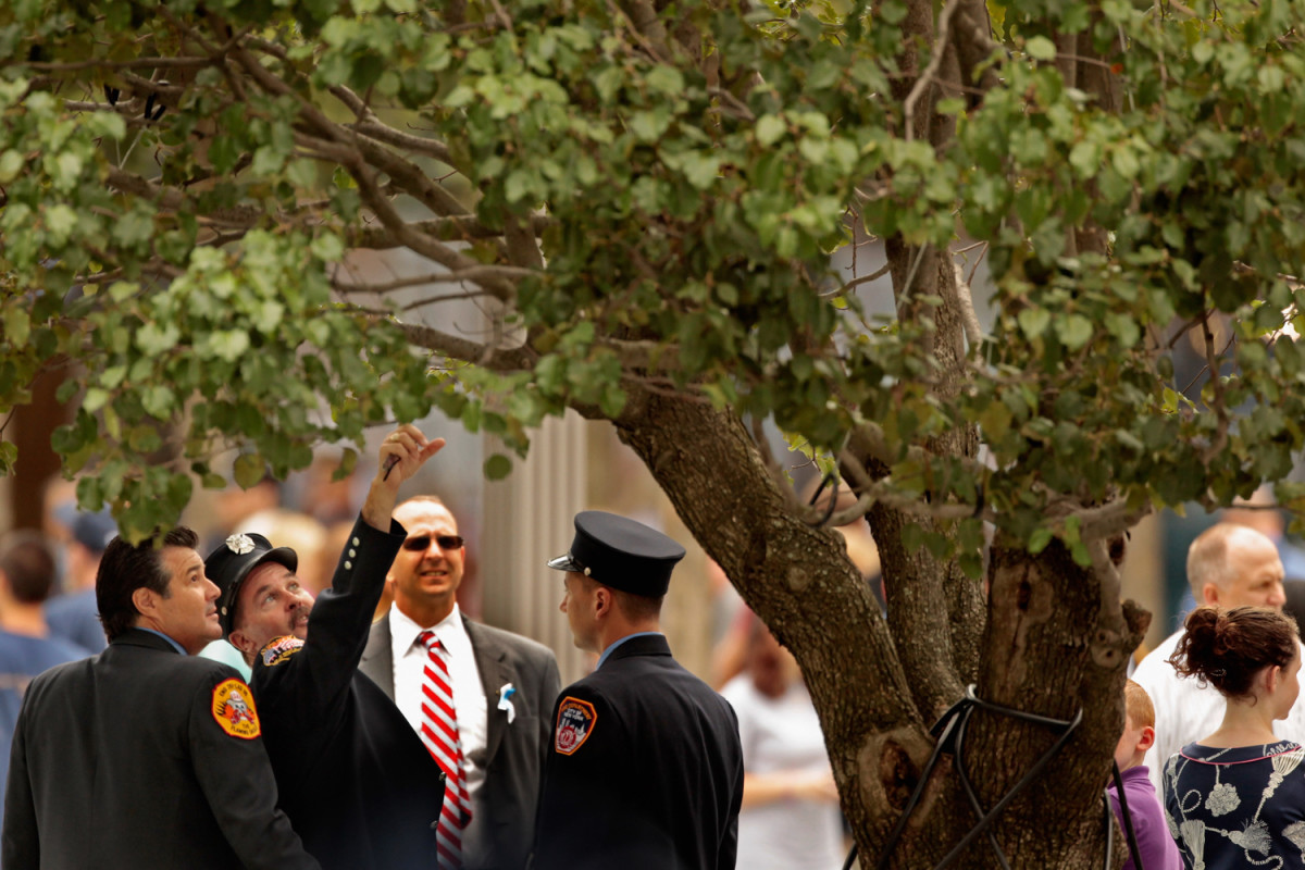 Firefighters at Survivor's Tree at 9/11 Memorial
