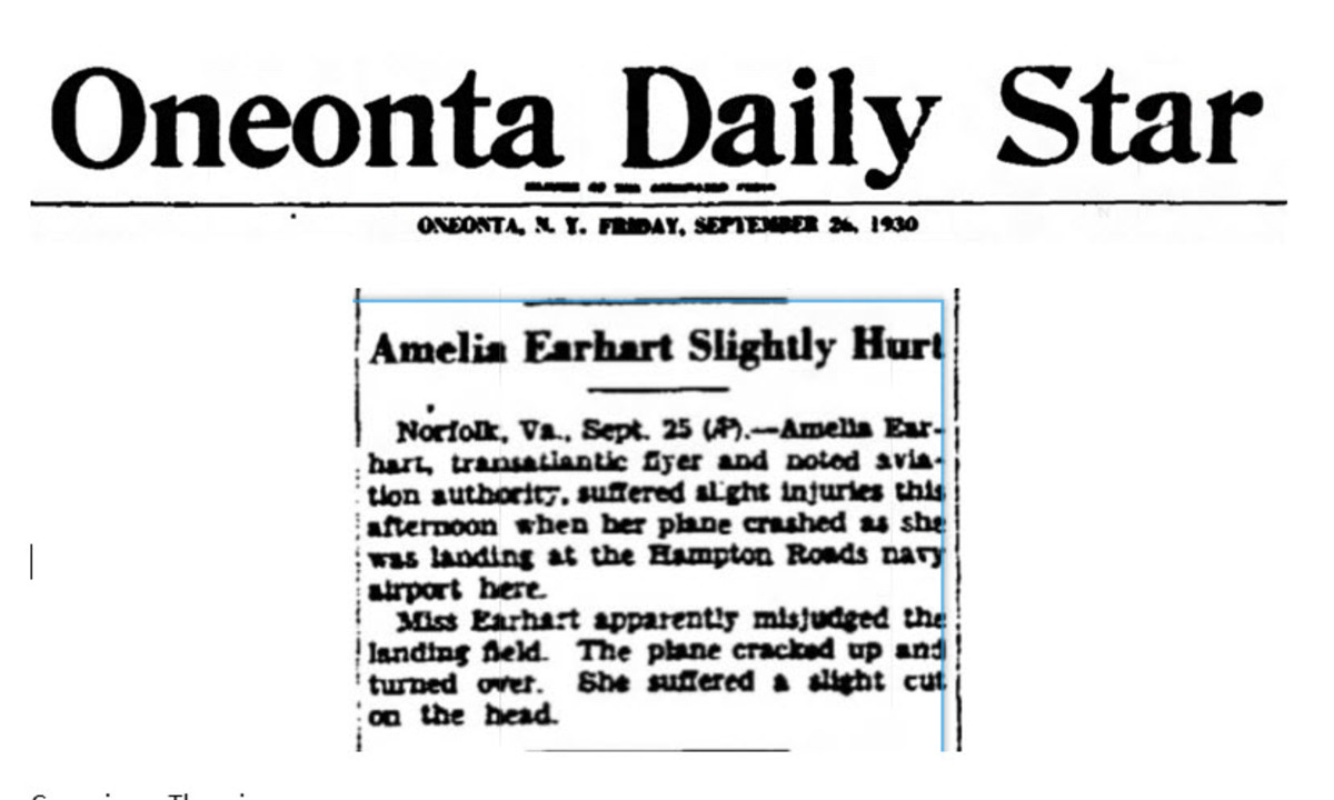 Amelia Earhart Plane Crash Courtesy Ancestry