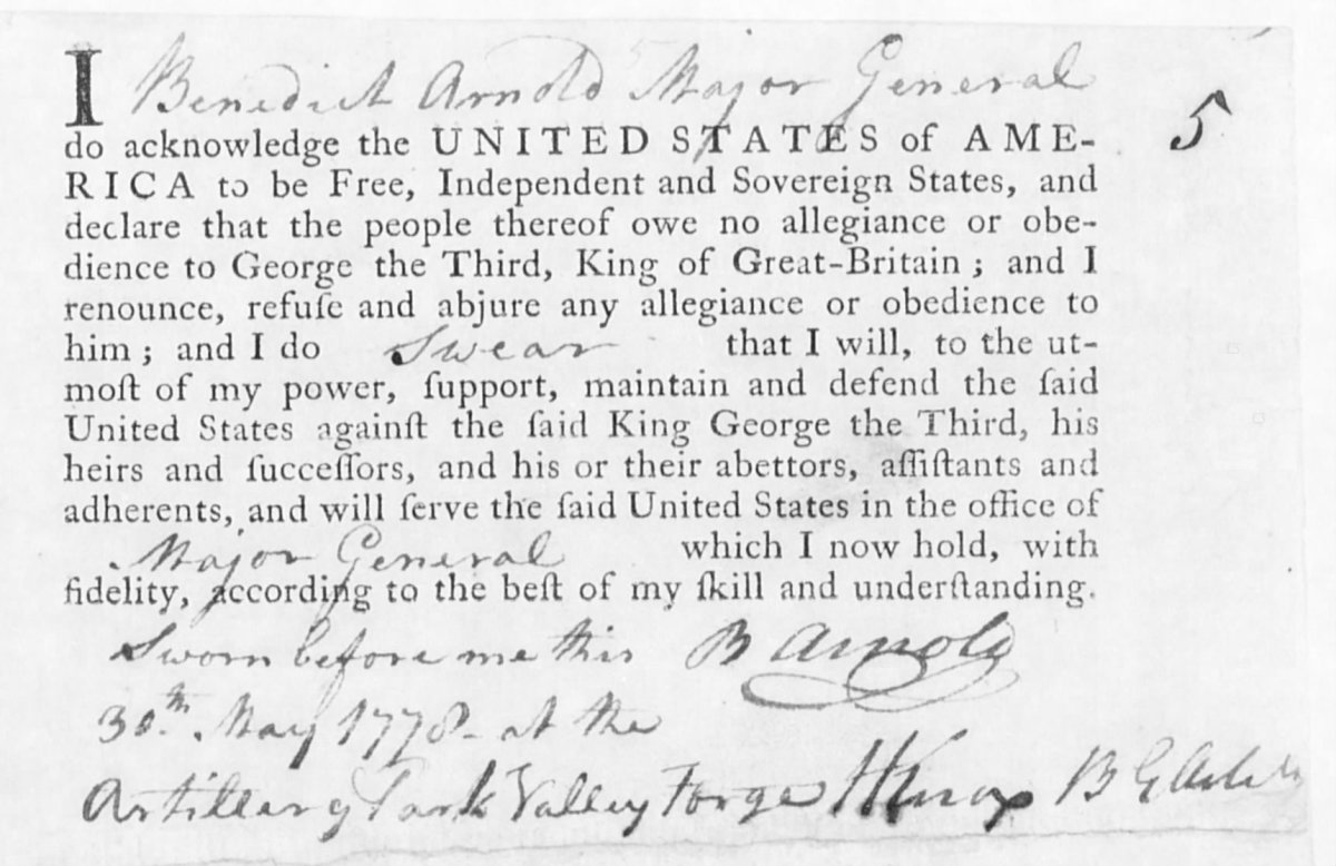 Benedict Arnold Oath of Allegiance Ancestry.com