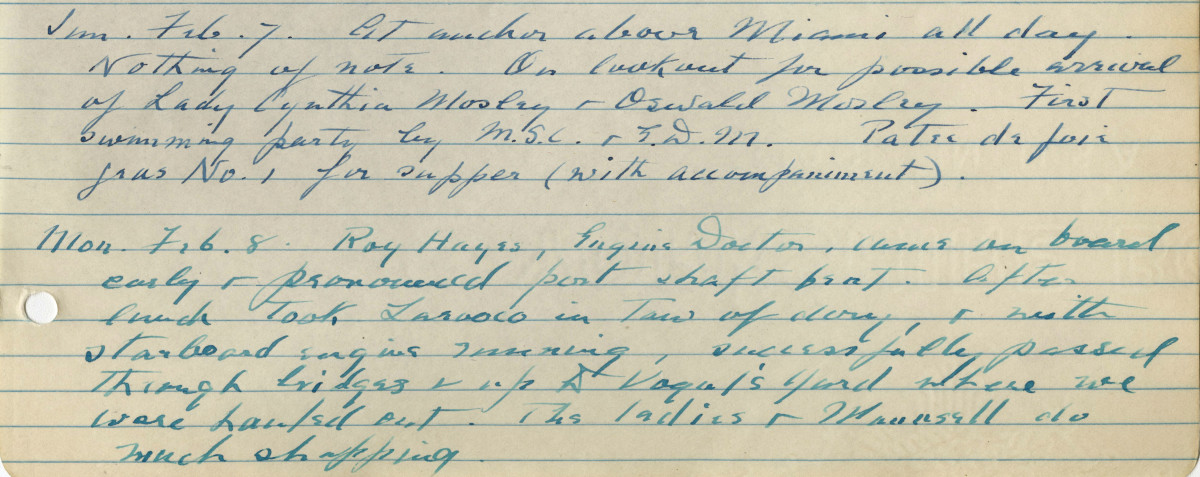 Franklin Delano Roosevelt Handwritten Log Photo Courtesy Karen Chase