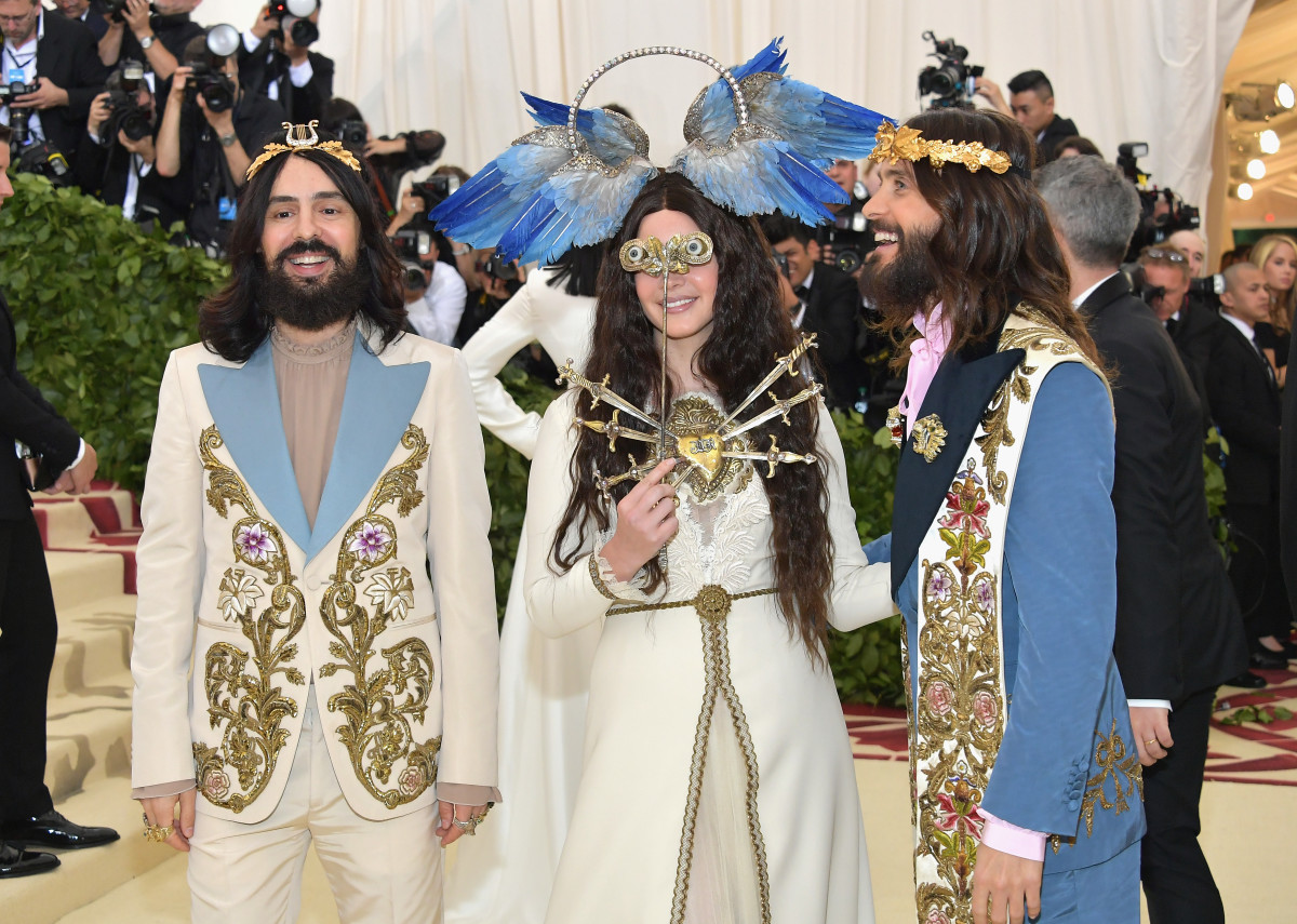Alessandro Michele, Lana Del Rey, and Jared Leto at the 2018 Met Gala