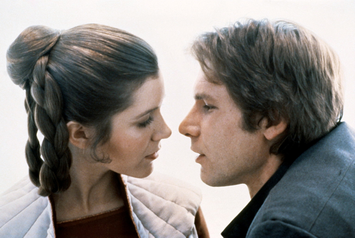 Carrie Fisher and Harrison Ford on the set of Star Wars Episode V - The Empire Strikes Back