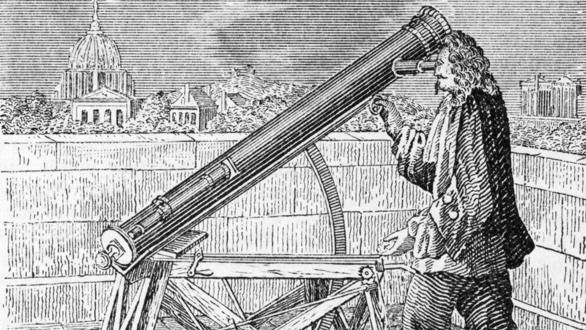 Isaac Newton and his telescope