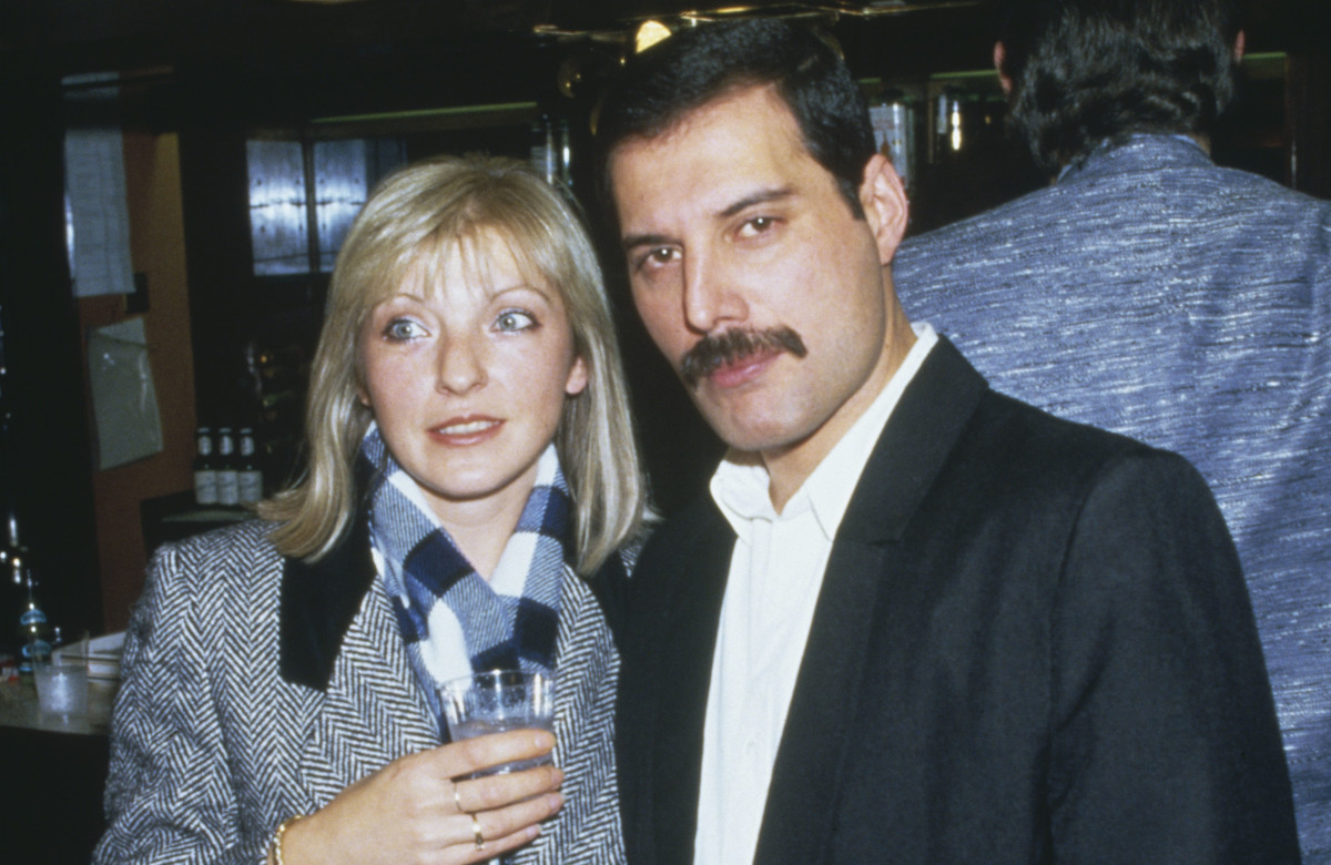 Mary Austin and Freddie Mercury at Fashion Aid at the Royal Albert Hall in London
