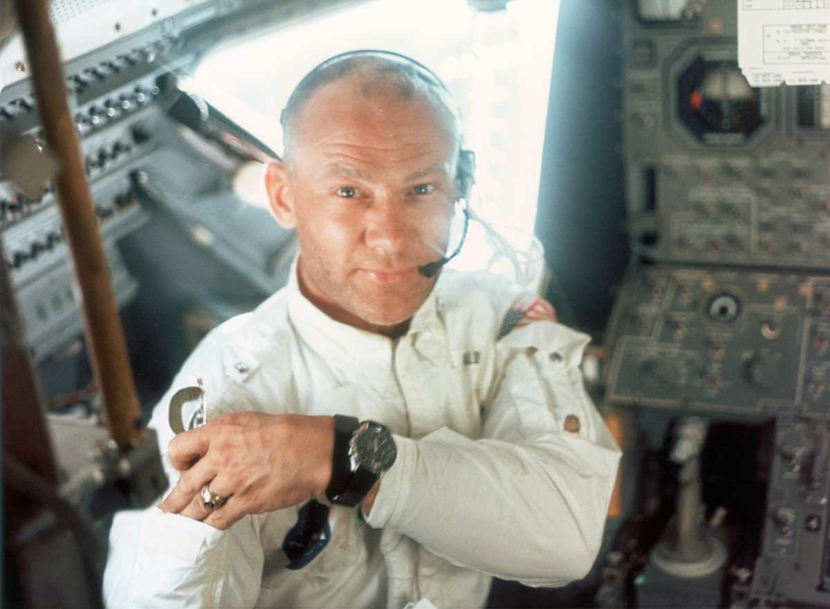 Edwin E. Aldrin Jr on board the Lunar Module during the Apollo 11 lunar landing mission, 20th July 1969