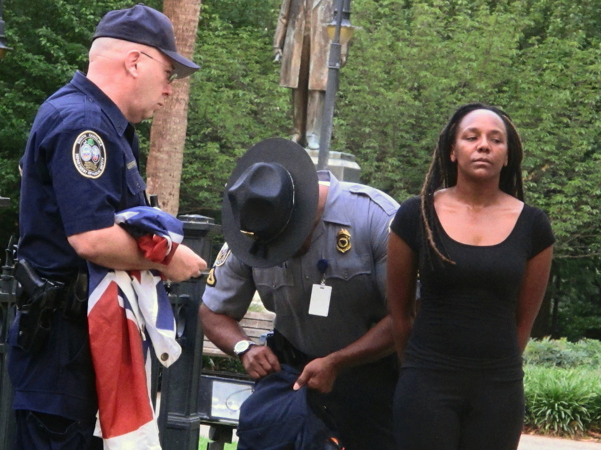 Bree Newsome Arrest Confederate Flag South Carolina Photo