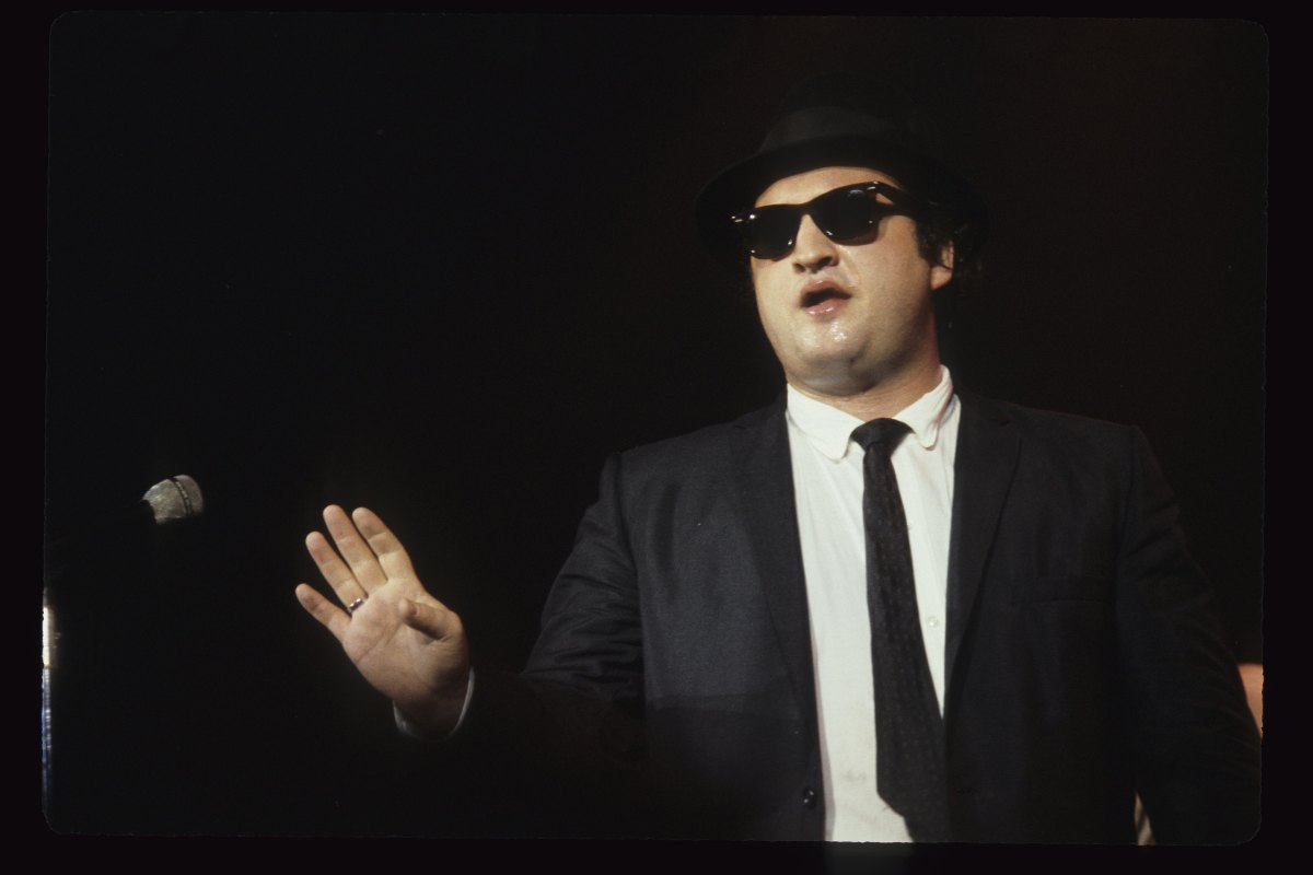 John Belushi aka Jake Blues of The Blues Brothers performs live at The Winterland Ballroom in 1978 in San Francisco, California