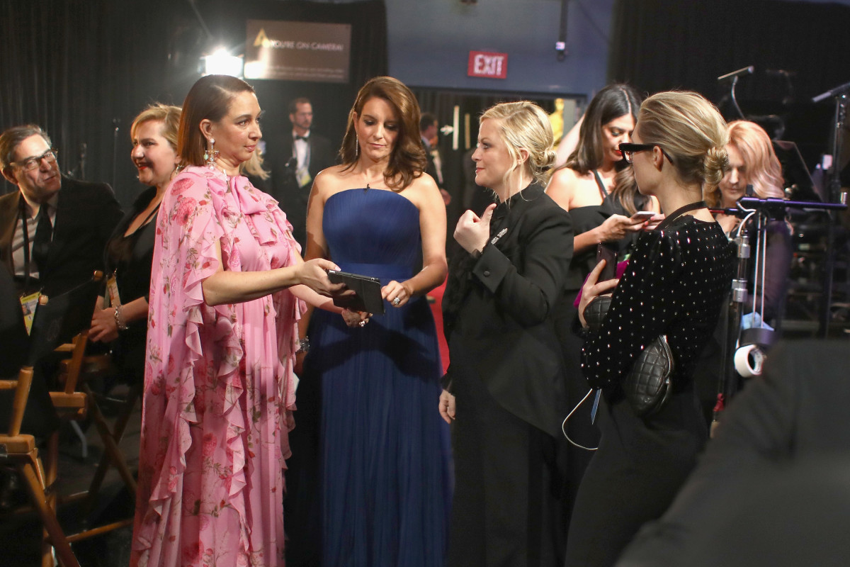 Maya Rudolph, Tina Fey, and Amy Poehler pose backstage during the 91st Annual Academy Awards