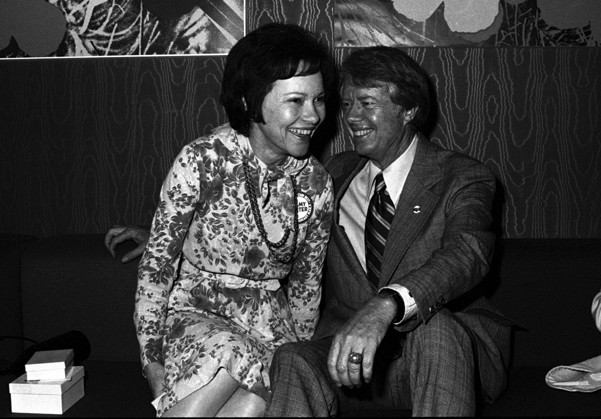 Jimmy Carter and Rosalynn Carter attend Former Governor of Georgia Jimmy Carter's fundraiser for his 1976 Presidential run at Royal Coach Inn Atlanta Georgia February 14, 1976