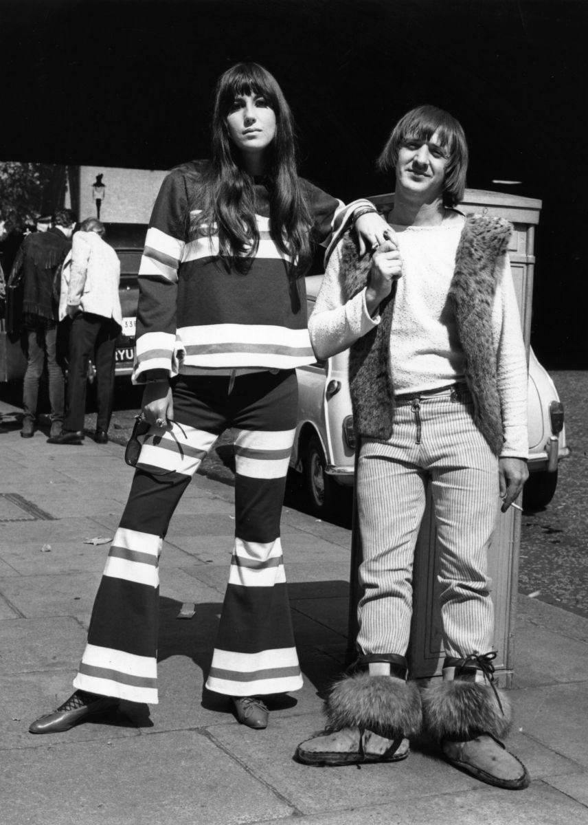 Sonny and Cher in Northumberland Avenue, London after making a recording for the BBC at the Playhouse Theatre