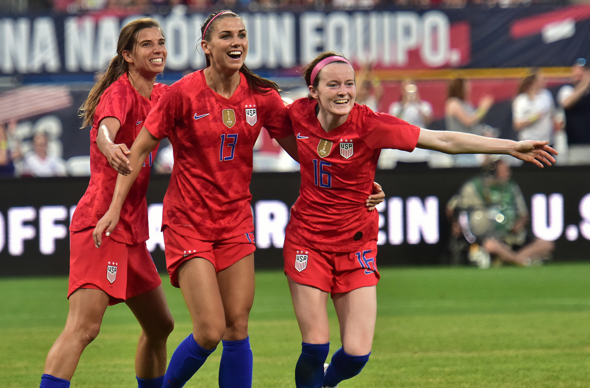Tobin Heath, Alex Morgan and Rose Lavelle