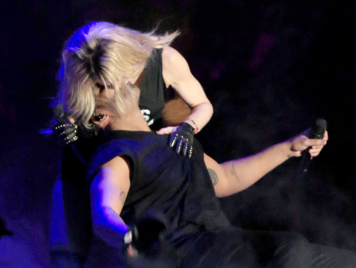 Madonna and Drake kiss onstage during day 3 of the 2015 Coachella Valley Music & Arts Festival