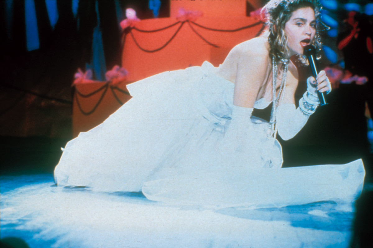 Madonna performing on the 1984 MTV Video Music Awards at Radio City Music Hall in New York City, September 14, 1984