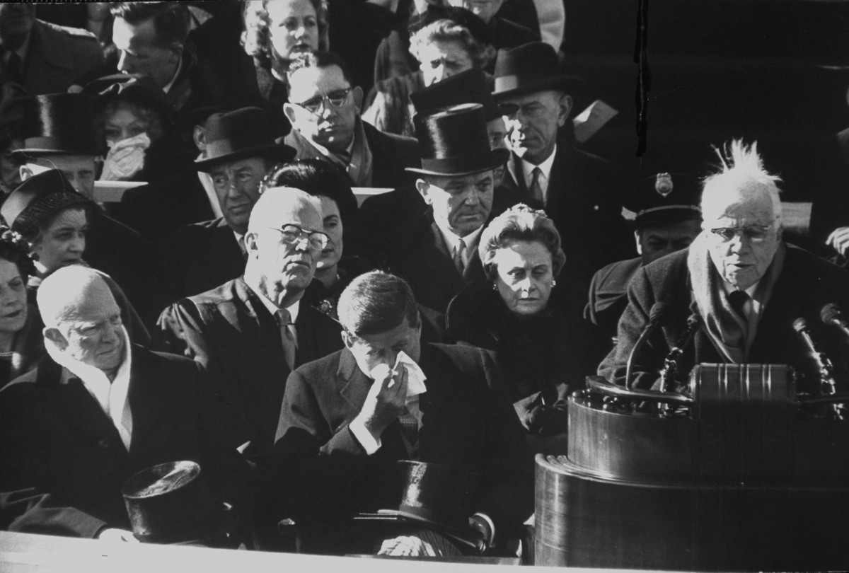 Robert Frost reading one of his poems at the Inaugural Ceremony for President John F. Kennedy