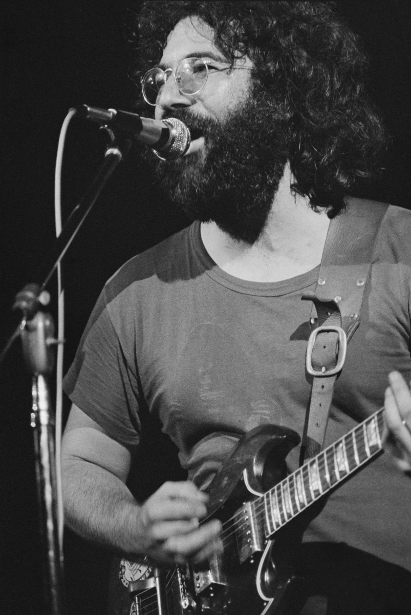 Jerry Garcia performing with American rock group The Grateful Dead, at the Woodstock Music Festiva