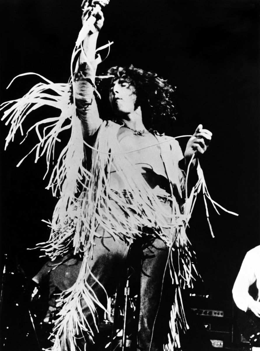 The Who's Roger Daltrey performing on stage at Woodstock