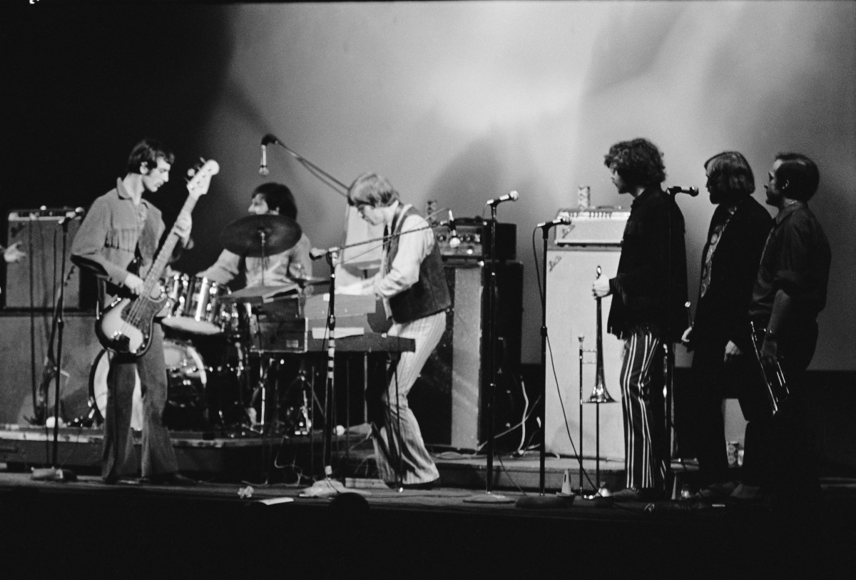 Blood, Sweat & Tears perform at Fillmore East in the East Village, New York City, circa 1970