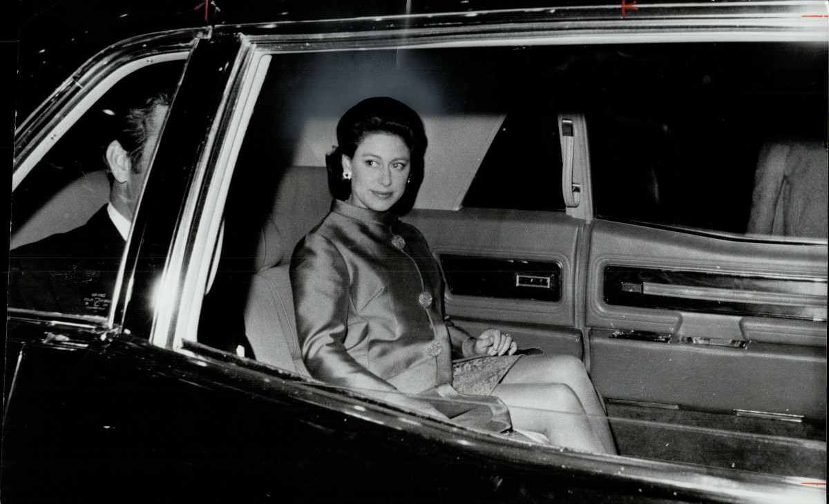 Princess Margaret leaves the Royal York Hotel in Toronto, Canada in October 1967