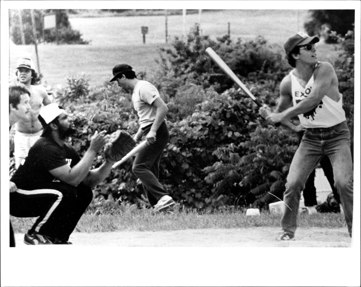 Bruce Springsteen at bat in the 1983 softball game between the E Street Angels and the Pony Express