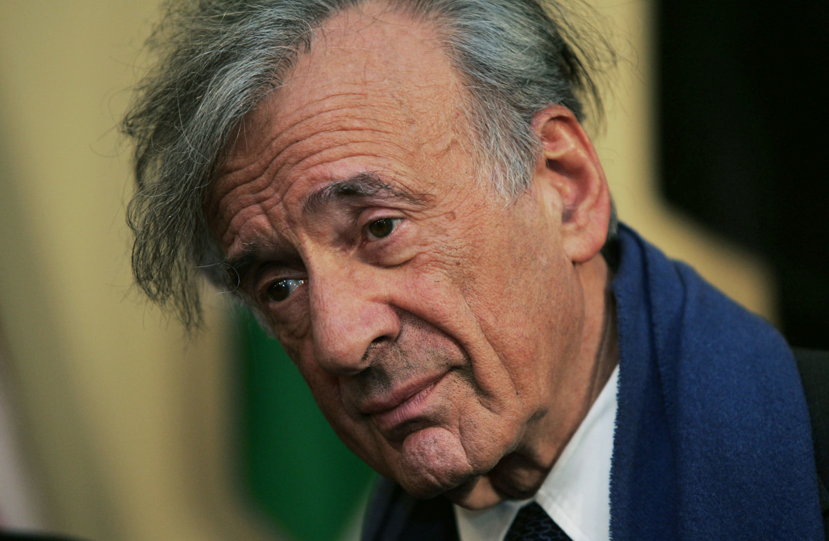 Elie Wiesel attends a press conference after Interfaith Leaders delegation meeting at the United Nations October 27, 2004 in New York City